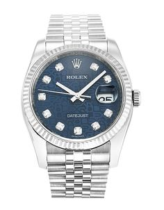 This is a pre-owned Rolex Datejust 116234. It has a 36mm Steel Case & White Gold Bezel, a Blue Jubilee Diamond dial, a Steel (Jubilee) bracelet, and is powered by an Automatic movement.