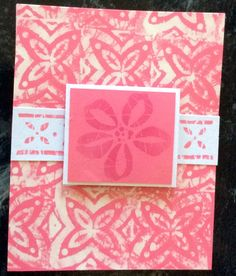"Bleached Background Tropical Card. Entered in simonsaysstampblog.com Monday Create a Background Challenge. Made ""pad"" using paper towels soaked in bleach.  Stamped image on bleach, then pressed onto colored card stock. Stamped focal image on pink paper with darker pink ink, also on a white strip to add another element."