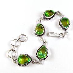 New Multi Quartz Gemstone Faceted Silver Plated Bracelet With Adjustable Lock. #Gajrajgems92_9 #ChainFishHookFaceted