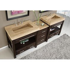 Silkroad Exclusive Travertine Countertop Double Stone Sink Bathroom Vanity - Crafted with natural travertine stone and solid wood, this double-sink bathroom vanity updates any decor with a sense of sophistication. This vanity features a brown finish and seven shelves.