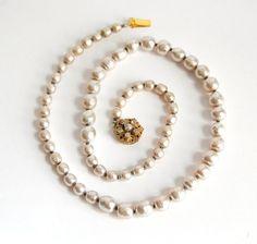 Miriam Haskell Baroque Pearl Necklace Vintage by Curiopolis