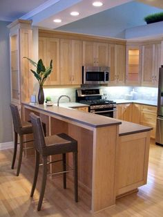 Quartz Countertops With Natural Maple Cabinets Home Decor Kitchen Countertops Ideas Kitchen Bar Counter, Kitchen Bar Design, Maple Kitchen Cabinets, Shaker Cabinets, Maple Counter, Counter Tops, Wood Cabinets, Small Kitchen Bar, Kitchen Grey