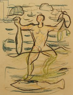 Bather with Fish, c. 1915-20 (coloured chalks) Munch, Edvard