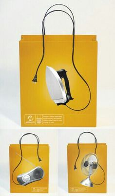 This is a very clever packaging design, with the wires of various pieces of electronics turning into the handles of the bag. The bright yellow color of this unique design makes it very eye-catching. Guerilla Marketing, Street Marketing, Clever Packaging, Bag Packaging, Paper Packaging, Packaging Ideas, Creative Bag, Creative Design, Packaging Design Inspiration