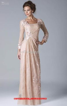 Wholesale Champagne Long Sleeved Lace Chiffon Evening Dress Mother of the Bride Gown with Bolero Jacket W034, Free shipping, $100.8-119.84/Piece | DHgate