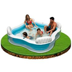 This Family Pool Lounge is the perfect pool for family to use on a bright summers day. With 4 inflatable seats and backrests, this pool is suitable for parents to keep an eye on their children whilst splashing around. #Intex #Pool #Summer