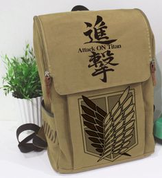 japanese anime attack on titan cosplay outdoor backpack travel canvas  school bag $69.00