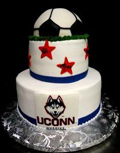 Soccer theme birthday cake
