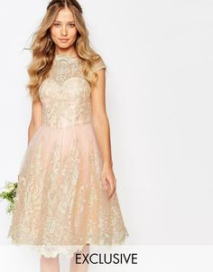 Buy Chi Chi London Premium Metallic Lace Midi Prom Dress with Bardot Neck at ASOS. With free delivery and return options (Ts&Cs apply), online shopping has never been so easy. Get the latest trends with ASOS now. Neutral Bridesmaid Dresses, Champagne Bridesmaid Dresses, Pink Prom Dresses, Bridesmaids, Tall Dresses, Bridesmaid Ideas, Bridesmaid Gowns, Dance Dresses, Metallic Cocktail Dresses