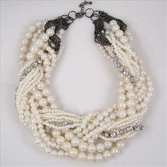 fashion vintage antique style jewellery multi layer string twist pearl choker necklace