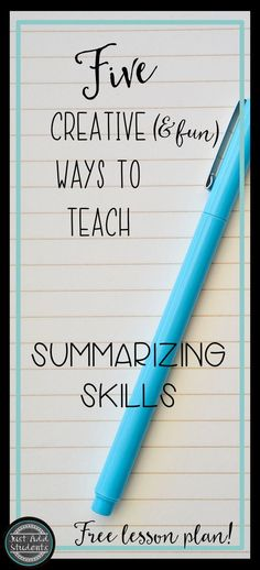 Practical and fun ways to get your students summarizing. Differentiate with texts that students will enjoy -- suggestions include using video clips and cartoons to help students determine the main idea and elements of a plot. Free lesson plan included - perfect for test practice, sub plan, review, and reading workshop. #summarizing #readingworkshop #lesson