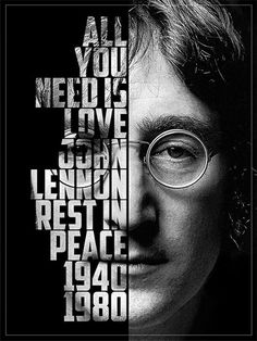 one color design / large photo and type combination. focus is split between John Lennon's face and the type. concept can mean competing for attention and focus