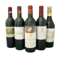 The five Premiere Grand Cru of Bordeaux Chateau Lafite Rothschild, Mouton Rothschild, Champagne Drinks, Wine Drinks, Wine And Liquor, Wine And Beer, Chateau Margaux Wine, Bordeaux, Famous Wines