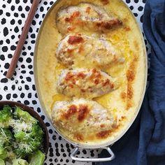 """""""Honey and mustard"""" - kyckling i ugn Mushroom Chicken, Grilled Chicken, Lchf, Quiche, Baking Recipes, Mustard, Chicken Recipes, Recipies, Stuffed Mushrooms"""