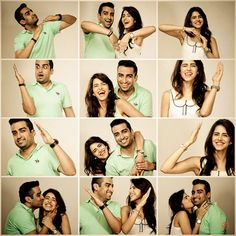 grid photographs , different expressions of couple