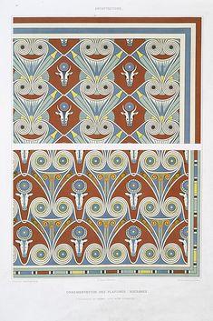 Architecture: ornementation des plafonds : bucrânes (nécropole de Thèbes -- XVIIIe. à XXe. dynasties) From New York Public Library Digital Collections.