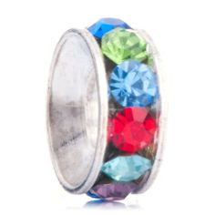 Pugster Round Ring Colorful Crytal Rhinestone Gift Holiday Beads Fits Pandora Charm Bracelet Pugster. $0.49. Weight: 0.7. Size: 4.2*9.84*9.84. Metal: Metal, Crystal. Color: Silver, Colorfl