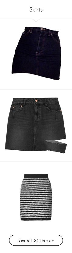"""""""Skirts"""" by andoverf ❤ liked on Polyvore featuring skirts, mini skirts, bottoms, black, short mini skirts, sjyp, distressed skirt, distressed denim mini skirts, stripe and high-waist skirt"""