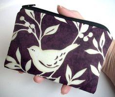 Ecru Bird Little Zipper pouch coin purse Gadget  Ipod by JPATPURSES, $9.00