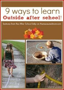 9 Learning Activities for Outside (and a new After School Linky!) - The Measured Mom go to website School Age Activities, Nature Activities, Outdoor Activities For Kids, Letter Activities, Outdoor Learning, Educational Activities, Fun Learning, Learning Activities, Teaching Kids