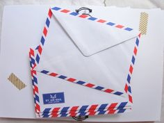 Set of 100 classic airmail envelopes by Happinessgarden on Etsy, $15.00