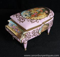 Photo of French Sevres Porcelain Trinket Case Piano Jewellery Box