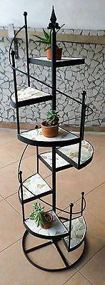 Fioriera in ferro battuto mod.scala a chiocciola 8 mensole in marmo palladiana