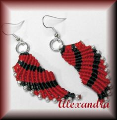 Micro Macrame Angel Wing earrings in Christmas colors Red and Green Office Christmas Party, Angel Wing Earrings, Micro Macrame, Christmas Colors, Red Color, Crochet Earrings, Free Shipping, Green, Handmade