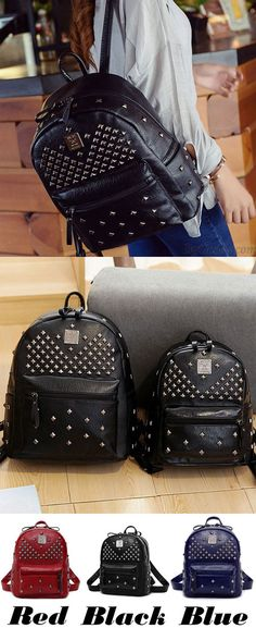 Punk PU Rivets Lichee Pattern School Bag Girl's Backpack for big sale! #school #Backpack #Bag #Punk #rivet