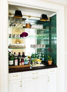 These home bar designs are like nothing you've ever seen! Luxe, chic, unique, and simply stylish, they may inspire you for great design deeds. Home Bar Rooms, Diy Home Bar, Home Bar Decor, Bar Cart Decor, Bars For Home, Diy Bar, Glass Shelves In Bathroom, Floating Glass Shelves, Bathroom Wall
