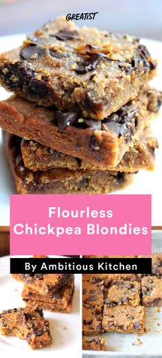 2. Flourless Chickpea Blondies #healthy #portable #snacks http://greatist.com/eat/healthy-snacks-from-ambitious-kitchen