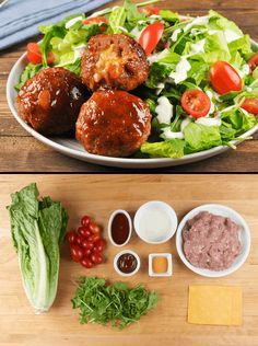 Cheddar-Stuffed Turkey Meatballs with maple-BBQ sauce and ranch salad