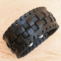 Black Leather Cuff Bracelet for Men - Unique Woven Bracelet - Black Mens Leather Bracelet - 2120 - Hipster Gift for Dad - Genuine Leather