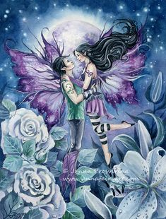 Fairy art print ,Blue Moon, Couple, Lovers, Dancing fairies, Honey Moon, Janna Prosvirina