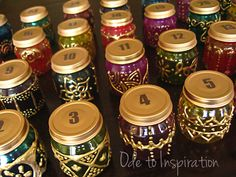 """Lovely!  """"Now, just place tea candles in each jar and display them anywhere you would like. Each day of Ramadan (after sunset), remove the cap and light your candle. Use the cap as a pedestal for your lantern. With each day, light the previous days' candles along with the current day. On the last day of Ramadan, watch as all of your beautiful lanterns are lit up indicating that the next day is going to be a wonderful celebration!"""""""