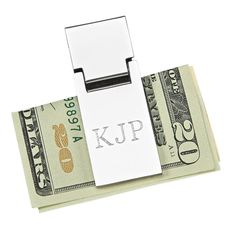 Money Clip - the BEST! This spring loaded money clip holds bills more securely than the more familiar traditional style. Lift the clip to insert your bills and close it easily to hold them securely. Free Monogram, Monogram Letters, Engraved Money Clip, Silver Money Clip, Easter Gift Baskets, Perfect Gift For Him, Famous Last Words, Groomsman Gifts, Customized Gifts