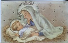 Vintage Christmas Card: Mary with the Baby Jesus