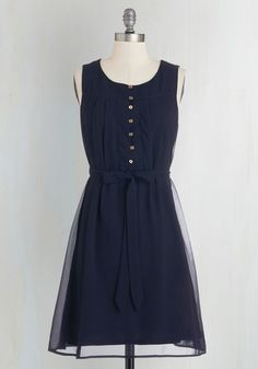 Bayfront Bliss Dress in Navy - Blue, Solid, Buttons, Belted, Work, Casual, A-line, Sleeveless, Woven, Good, Mid-length, Chiffon, Nautical