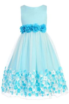 Aqua Satin & Tulle Girls Dress w 3D Taffeta Flowers (332)