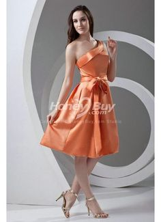 Fast Shipping One Shoulder A Line Satin Orange Bridesmaid Gowns