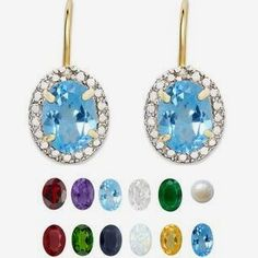 Dolce Giavonna Gold Overlay Gemstone/ Pearl and Diamond Birthstone Earrings (7 mm