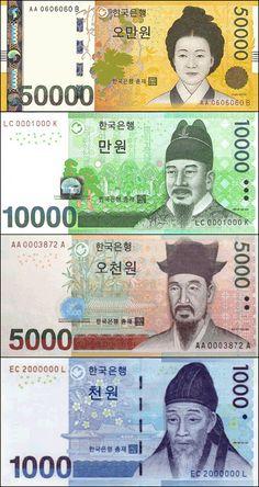 여러분이 매일 보고 만지고 사용하는 우리나라 지폐. 혹시 우리나라 지폐를 자세히 본 적 있으세요? 지폐 속에는 우리나라 사람들이 존경하는 위인들의 사진이 그려져 있답니다^^ 오만원(50000) - 신사임당 신사임당은 조선시대(朝鮮時代