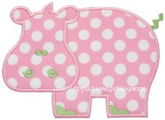 Hippo Applique Design - applique cafe