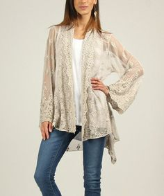 Love this Beige Lace Elodie Hi-Low Open Cardigan by Charlotte&Louis on #zulily! #zulilyfinds