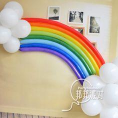 My Little Pony Party decor idea! Diy Rainbow Birthday Party, Rainbow Unicorn Party, Trolls Birthday Party, Troll Party, Rainbow Parties, Unicorn Birthday Parties, Birthday Balloons, Balloon Party, Birthday Club