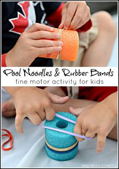 Pool noodles and rubber bands are used to work on fine motor skills. This activity is cheap and both of the materials can be used in other activities. The pool noodles can even be used for gross motor activities (see other pins). Preschool Fine Motor Skills, Fine Motor Activities For Kids, Motor Skills Activities, Gross Motor Skills, Sensory Activities, Therapy Activities, Toddler Activities, Learning Activities, Physical Activities