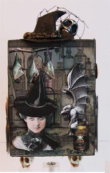 """Chunky ATC Witchy Halloween: Audrey wanted  """"spooky and witches"""" ... so some bats and a grotesque seemed in order."""