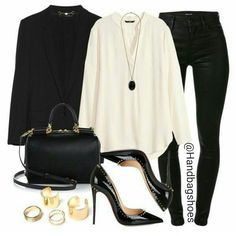 The black and cream outfit story - Skinny jeans, cream blouse, suit jacket and black heels with gold jewellery accessories. Dress it up or down
