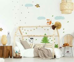 DESIGNED IN PARTICULAR WITH THINKING ABOUT CHILDREN WITH VERY NIGHT RISING AND WITH THE THINKING OF THE SPIRITS WHO CAN GO OUT FROM COT BED. IN THIS SET WOODEN HOUSE BED WITH CHIMNEY. IDEAL AS A PLACE TO PLAY, BOOK READING,REST AND SLEEP. | eBay! Bed Frames For Sale, Montessori Room, Cot Bedding, Wooden House, House Beds, Kid Beds, Kids House, Home Furniture, Toddler Bed