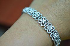 Auction 5 97ct F vs Round Cut Clover Design Diamond Bracelet in 14k White Gold | eBay